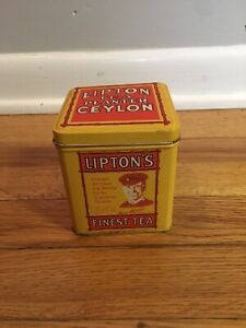 Vintage Lipton Tea Planter Ceylon Collectible Tin Bristol Ware Yellow Small