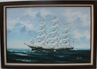 Large oil painting on canvas, seascape, Sailing ships on the ocean, Signed