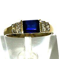 Beautiful 10K Solid Yellow Gold Ring Iolite & Diamonds Sz 9  2.6 grams