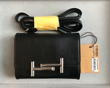 Brand New Tods Double T Shoulder Sling Crossbody Purse Micro Bag Black Leather