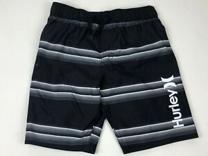 Boys Hurley Black Stripe Swim Trunks Swimsuit NWT