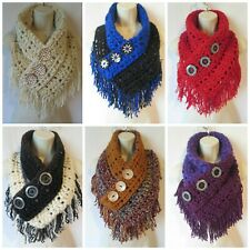 Crochet fringe triangle cowl scarf pattern Pattern Only