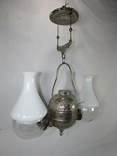 Antique Angle Lamp Co Double Oil Lamp~Bradley Hubbard~Retractable~Glass Shades