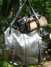 NEW B Makowsky Pewter Alice Shopper w Small Case,11 Pockets & Chain Detail! Gray