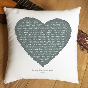 Snow Patrol Chasing Cars Heart Cushion 2nd Cotton Anniversary Gift Present