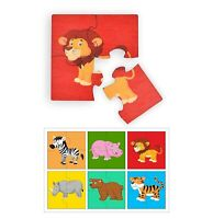 Set of 6, Wild Animals Simple Puzzles for Kids, 4 Piece Wooden Jigsaw Fun Toys