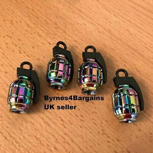 Neo Grenade valve dust caps X 4 chrome rainbow type BMX car motorcycle UK