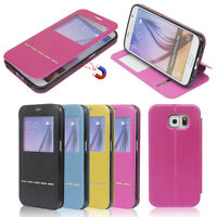 New Flip Leather Wallet View Window Skin Case Cover for Samsung S6/ S6 Edge
