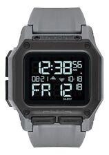 New Nixon Regulus Digital Watch All Gunmetal LCD Display 100m Water-resistant