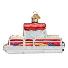 RED PONTOON BOAT OLD WORLD CHRISTMAS GLASS NAUTICAL CATAMARAN ORNAMENT NWT 46059