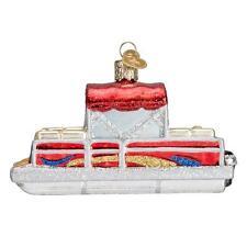RED PONTOON BOAT OLD WORLD CHRISTMAS GLASS NAUTICAL CATAMARAN ORNAMENT NWT 46059