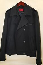 #119  Hugo Boss Red Label 'Brako' Pea Coat Jacket Size XL  RETAIL $645  BLUE