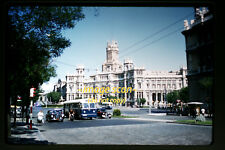 1959 Madrid, Spain Bus, Trolley, Cars, Motorcycle, Original Photo Slide a23a -