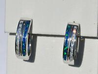 Echt 925 Sterling Silber Ohrringe Creolen synth. Opal Hochzeit Zirkonia Nr 416