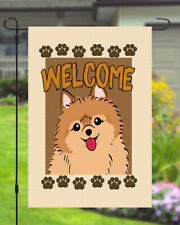Pomeranian Welcome Dog Garden Banner Flag 11x14 to 12x18 Pet Yard Decor Breed