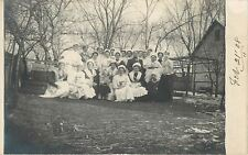 Group Of Ladies & Girl, All Wearing Small, White Hats~Real Photo Postcard c1913