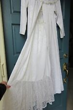 Gunne Sax Silky Satin Nylon Lace Lingerie Slip Nightgown Long Caftan Sweep Robe