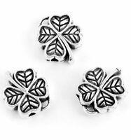 Four Leaf Clover Irish Silver Spacer Bead Bali Jewelry Making Charm Bulk Lucky