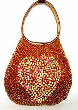 UNIQUE GOLD/PASTEL MULTI-COLOR BEADED UN-LINED HANDBAG W WRAPPED RING HANDLES