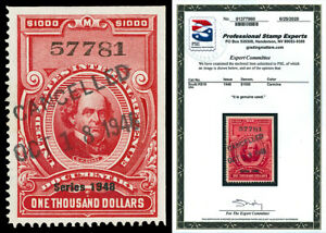 Scott R510 1948 $1,000 Dated Red Documentary Revenue Used VF w/ PSE CERTIFICATE!