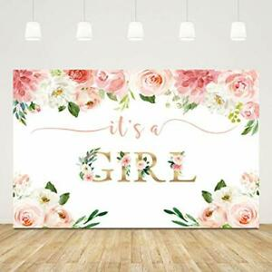 It's a Girl Backdrop for Baby Shower Pink Flowers Babyshower Party Banner 5x3ft