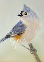 ACEO Print oil painting Tufted Titmouse Bird wildlife animal Miniature