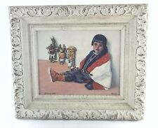 Art Oil Painting MEXICAN BOY by Emery Signed Southwestern Framed 12.5 x 14.5