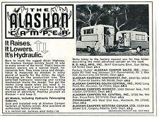 1972 small Print Ad of The Alaskan Camper Pickup Truck Bed it's hydraulic