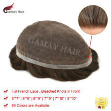 Full French Lace Mens Toupee Hairpiece Bleached Human Hair Replacement System