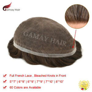 Full French Lace Mens Toupee Hairpiece Bleached Human Hair Replacement System US