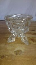 Art Deco Style Clear Glass Tri Footed Chalice Bon Bon Dish Bowl