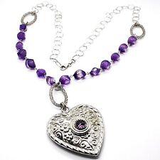 Halskette Silber 925, Fluorit Facettiert Violet, Herz mit Blumen, 70 CM