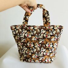 couple squirrel canvas handbag zip lunch box bag storage tote recycle bag