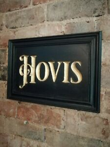 HOVIS sign carved wooden sign gold black period vintage style wood sign VAC275