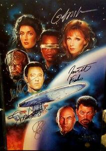 Cast Autographed Poster - Star Trek - TNG - Tv Series - 11x17 + COA
