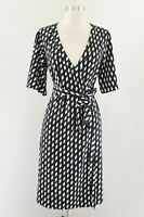 Banana Republic Womens Black White Geometric Diamond Print Wrap Dress Size 0