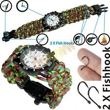 Military Paracord Survival Sport Swimming Wrist Watch / Tactical Bracelet