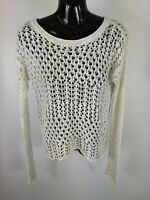 WOMENS HOLLISTER WHITE LONG SLEEVE WIDE KNIT JUMPER SWEATER UK XS EXTRA SMALL