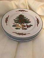 Vitromaster Christmas Tree Salad Plates Stoneware - Set Of 5