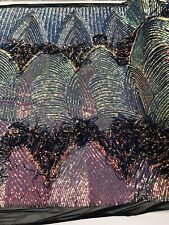 Iridescent Sequin Fringe Rainbow /Black Mesh 4 Way Stretch Sequin Fabric By Yard