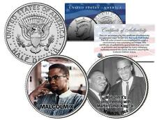 MALCOLM X Colorized JFK Half Dollar US 2-Coin Set Martin Luther King Jr Meeting