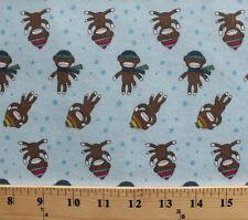 Sock Monkey Winter Apparel Hats Scarves Blue Cotton Flannel Fabric Print D283.07
