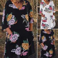 AU Womens Summer Midi Dress Bohemian Beach Sundress Floral Tunic Dress Long Tops