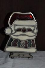 Vintage Cast Iron Stained Glass Santa Candle Holder