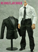 "1/6 Black Color Suit Set For Hot Toys 12"" Male Figure SHIP FROM USA"