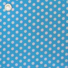 Turquoise Polka Dot Fabric Fat Quarter 8 mm Spots 100% Cotton.