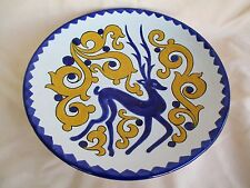 Handcrafted Celtic Stag Stoneware Pottery Plate Signed, 9 3/8""