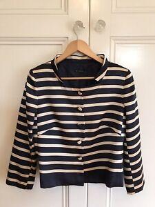 Carla Zampatti Silk Jacket Navy & Pale Gold Striped Size 12