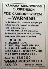 Yamaha YZ80 Amortiguador Trasero Etiqueta de advertencia de precaución