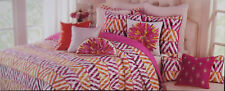Tahari Hot Pink Yellow Orange Plum Zig Zag Twin Quilt Bedspread Shams Set NIP